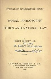 Cover of: Moral philosophy, or, Ethics and natural law