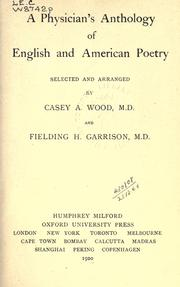 Cover of: A physician's anthology of English and American poetry