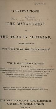 Cover of: Observations on the management of the poor in Scotland