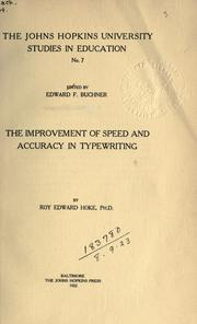 Cover of: The improvement of speed and accuracy in typewriting ..