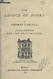 Cover of: On the choice of books