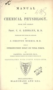 Cover of: Manual of Chemical physiology