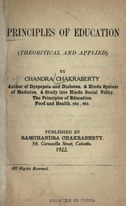 Cover of: Principles of education (theoritical [!] and applied)