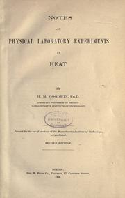 Cover of: Notes on physical laboratory experiments in heat