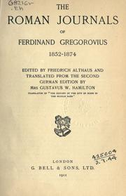 Cover of: The Roman journals of Ferdinand Gregorovius