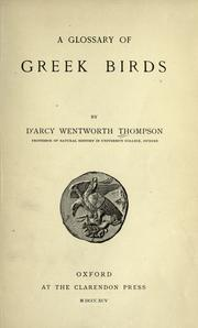 Cover of: A glossary of Greek birds
