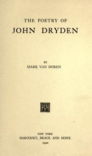 Cover of: The poetry of John Dryden