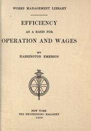 Cover of: Efficiency as a basis for operation and wages
