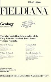 Cover of: The Macropodoidea (Marsupialia) of the early Pliocene Hamilton local fauna, Victoria, Australia