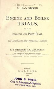 Cover of: A handbook of engine and boiler trials