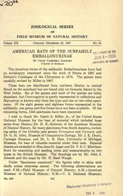 Cover of: American bats of the subfamily Emballonurinae