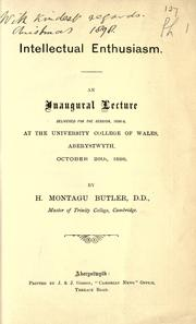 Cover of: An Inaugural lecture delivered for the session, 1898-9, at the University College of Wales, Aberystwyth, October 26th, 1898