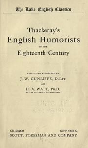 Cover of: Thackeray's English humorists of the eighteenth century