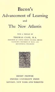 Cover of: Advancement of learning, and The new Atlantis