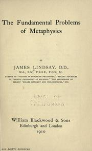 Cover of: The fundamental problems of metaphysics