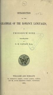 Cover of: Introduction to the grammar of the Romance languages