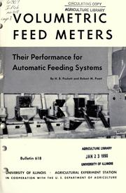 Cover of: Volumetric feed meters