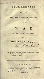 Cover of: Some remarks on the apparent circumstances of the war in the fourth week of October 1795