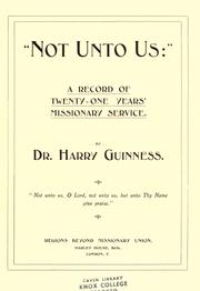 "Cover of: ""Not unto us"" 