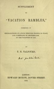 "Cover of: Supplement to ""Vacation rambles"": consisting of recollections of a tour through France, to Italy, and homeward by Switzerland, in the vacation of 1846"