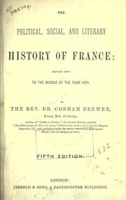 Cover of: The political, social, and literary history of France