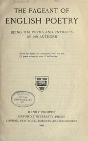 Cover of: The pageant of English poetry