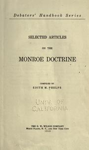 Cover of: Selected articles on the Monroe doctrine