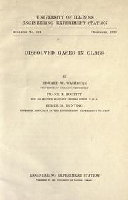 Cover of: Dissolved gases in glass