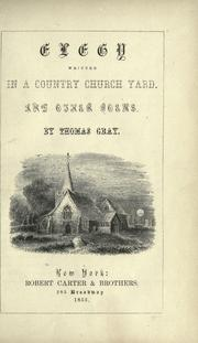 Cover of: Elegy written in country churchyard and other poems