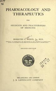 Cover of: Pharmacology and therapeutics