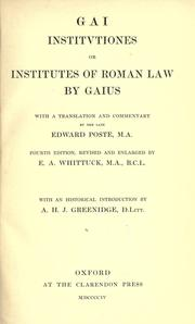 Cover of: Gai Institutiones by Gaius.