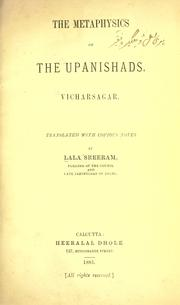 Cover of: The metaphysics of the Upanishads by Lala Sreeram