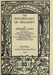 Cover of: The psychology of insanity | Bernard Hart