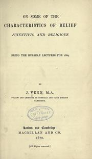 Cover of: On some of the characteristics of belief, scientific and religious