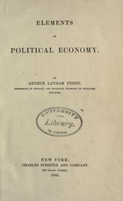 Cover of: Elements of political economy