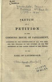 Cover of: Sketch of a petition to the Commons House of Parliaments
