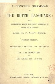 Cover of: A concise grammar of the Dutch language