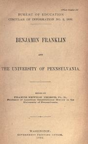 Benjamin Franklin and the University of Pennsylvania by Francis Newton Thorpe