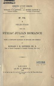 Cover of: A selection from the Syriac Julian romance: edited with a complete glossary in English and German