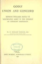Cover of: Godly union and concord by Hensley Henson