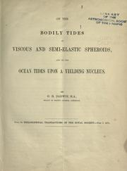 Cover of: Problems connected with the tides of a viscous spheroid