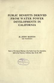 Cover of: Public benefits derived from water power developments in California