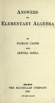 Cover of: Answers to Elementary algebra