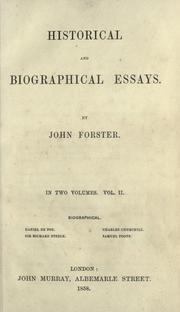 Cover of: Historical and biographical essays