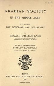 Cover of: Arabian society in the Middle Ages: studies from The thousand and one nights.