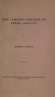 Cover of: The Jumano Indians in Texas, 1650-1771