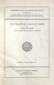 Cover of: The practical value of birds