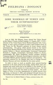 Cover of: Some mammals of Yemen and their ectoparasites