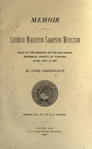 Cover of: Memoir of Leonice Marston Sampson Moulton by John Ordronaux