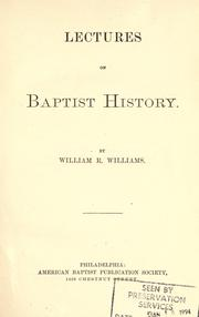 Cover of: Lectures on Baptist history